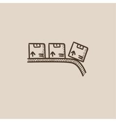 Conveyor belt for parcels sketch icon vector