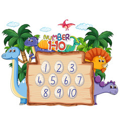 Count number to ten dinosaur theme vector