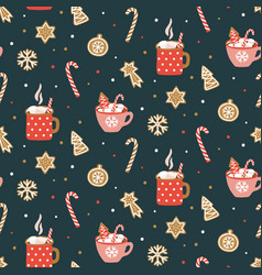 Cute hand drawn seamless pattern with cocoa vector