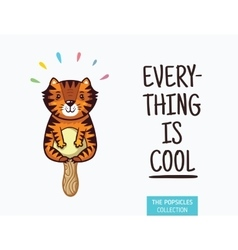 Cute tiger popsicle ice cream vector image