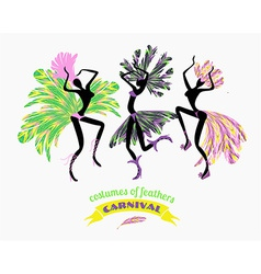 Dancing women in carnival costumes of feathers vector