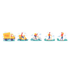 delivery courier service delivering parcels icons vector image