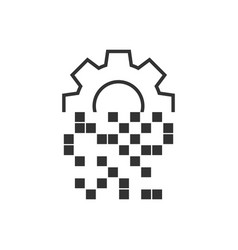 Digital gear icon in flat style cog on white vector