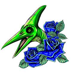 Dinosaurus pterodactyl head art vector