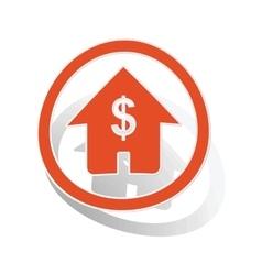 Dollar house sign sticker orange vector image