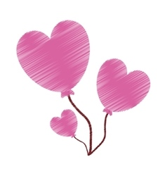 drawing love heart balloons valentine vector image