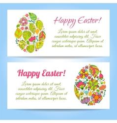 Easter egg on flowers background vector image