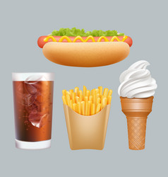 fast food realistic junk food hotdogs cold drink vector image