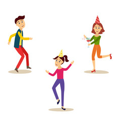 flat girl and men dancing at party vector image