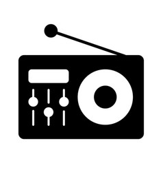 fm radio logo icon vintage emblem label badge vector image