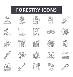 Forestry line icons for web and mobile design vector