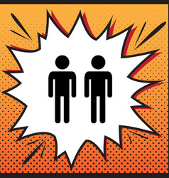 Gay family sign comics style icon on pop vector