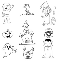 Ghost and pumpkins in doodle Halloween vector