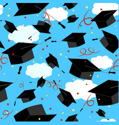 Graduation caps in the air graduate background vector