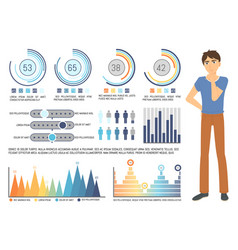 Graph report man counting profit icon vector