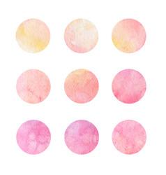 hand drawn watercolor circles of pink and yellow vector image