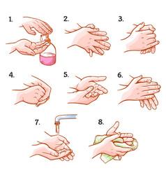 hands washing medical instructions set sanitary vector image