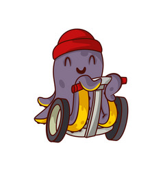 happy purple octopus riding on self-balancing vector image