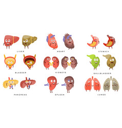 healthy vs sick human organs infographic vector image