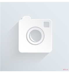 Hipster 3d photo camera icon with long shadow vector