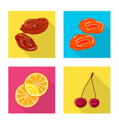 isolated object of fruit and dried icon set of vector image