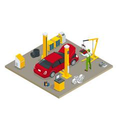 Isometric car maintenance vehicles diagnostics and vector