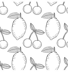 lemons and cherries black and white vector image