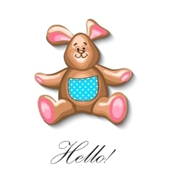 little bunny soft toy first birthday greeting card vector image