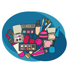 Makeup design set cartoon free hand draw doodle vector
