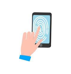 man hand touch smartphone display fingerprint vector image