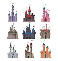 medieval stone castles collection ancient vector image