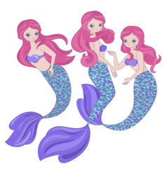 Mermaid trio underwater sea cartoon vector