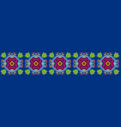 Mexican huichol style flowery pattern vector