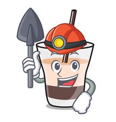 Miner white russian mascot cartoon vector