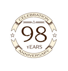 ninety eight years anniversary celebration logo vector image