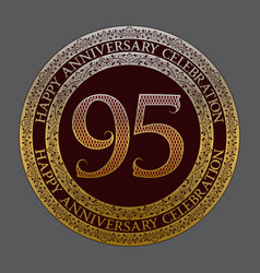 ninety fifth anniversary celebration logo symbol vector image
