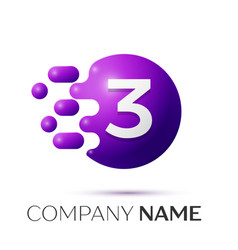 Number three splash logo purple dots and bubbles vector
