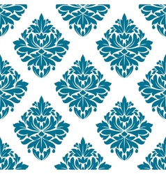 Ornate blue damask style floral pattern vector image