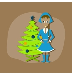 Paper sticker on stylish background Christmas girl vector