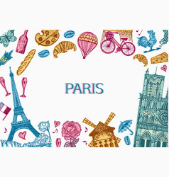 paris background in vintage retro style france vector image