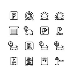 parking icons car garage and line vector image