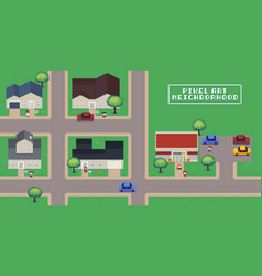 Pixel art neighborhood vector