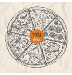 Pizza sketch background vector
