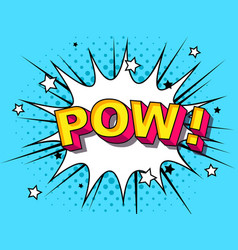 pow comic cartoon explosions vector image