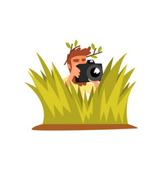 professional male photographer paparazzi hiding in vector image