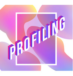 profiling isometric text design on abstract vector image
