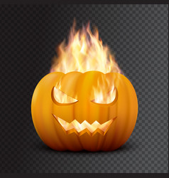 realistic halloween pumpkin in fire vector image