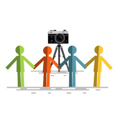 retro camera with people vector image