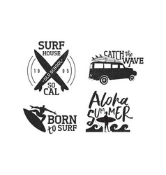 Retro summer surf label set of men surfing vector