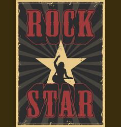 rock star grunge poster vector image